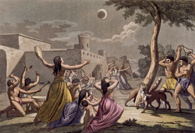 Illustration of Ancient Peruvians Worshipping the Eclipse